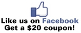 Like us on Facebook and get a $20 coupon!